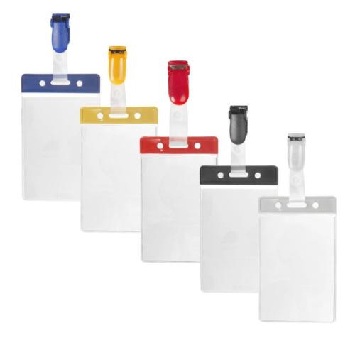 Ausweishüllen mit Fabrbalken vertikal aus Vinyl mit farblich passendem Clip