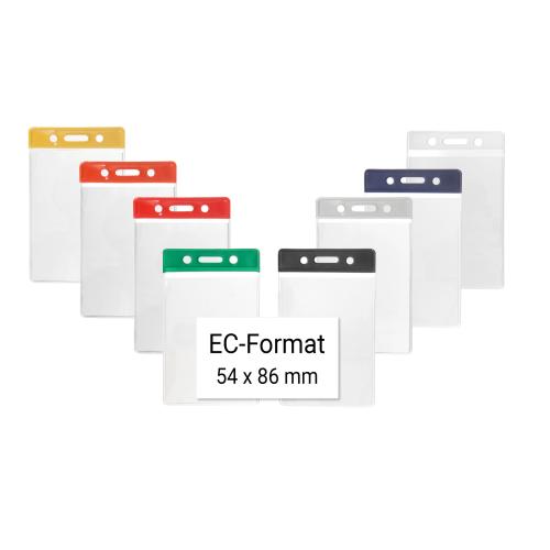 86 mm x 54 mm Ausweishüllen mit Farbbalken aus Vinyl vertikal